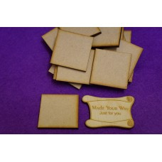 MDF Square 4cm/40mm x 3mm - Laser cut wooden shape