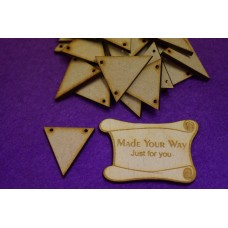 MDF Triangle Bunting two holes 3cm/30mm x 3mm - Laser cut wooden shape