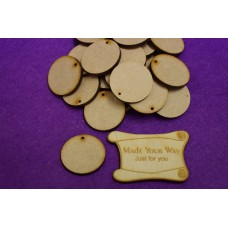 MDF Circle Round one hole 3cm/30mm x 3mm - Laser cut wooden shape