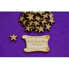 MDF Star one hole 2cm/20mm x 3mm - Laser cut wooden shape