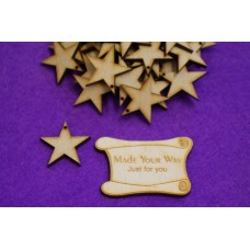 MDF Star one hole 3cm/30mm x 3mm - Laser cut wooden shape
