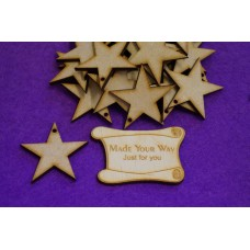 MDF Star one hole 4cm/40mm x 3mm - Laser cut wooden shape
