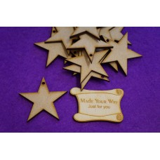 MDF Star one hole 5cm/50mm x 3mm - Laser cut wooden shape