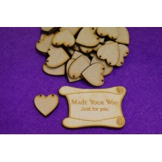 MDF Heart Bunting two holes 2cm/20mm x 3mm - Laser cut wooden shape
