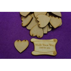 MDF Heart Bunting two holes 3cm/30mm x 3mm - Laser cut wooden shape