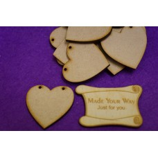 MDF Heart Bunting two holes 4cm/40mm x 3mm - Laser cut wooden shape