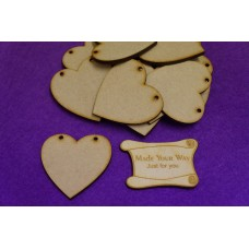 MDF Heart Bunting two holes 5cm/50mm x 3mm - Laser cut wooden shape