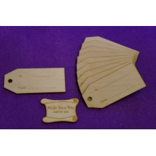 Birch Luggage Tag Squared To/From 4x9cm/40x90mm x 3mm - 10 x Laser cut wooden shape