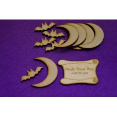 MDF Bat and Moon 3mm - 5 x Laser cut wooden shape