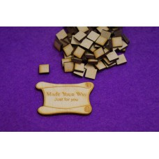 MDF Square 1cm/10mm x 3mm - Laser cut wooden shape