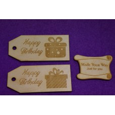 Birch Luggage Tag Squared Happy Birthday 4x9cm/40x90mm x 3mm - 2 x Laser cut wooden shape