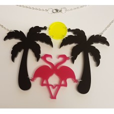 Flamingo's by moonlight in Paradise Necklace - Acrylic