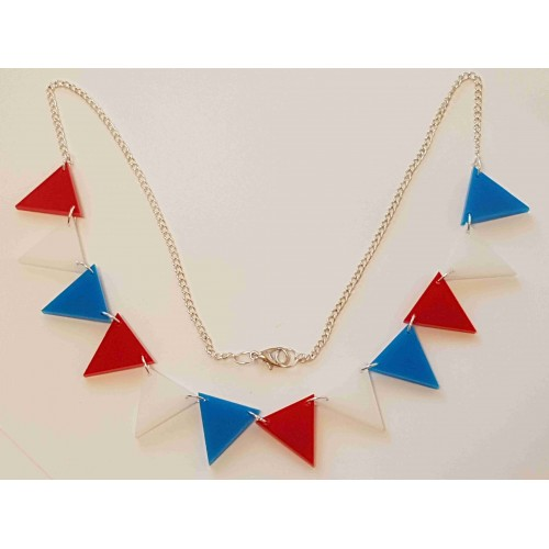 Bunting Necklace Retro Red/White/Blue - Acrylic