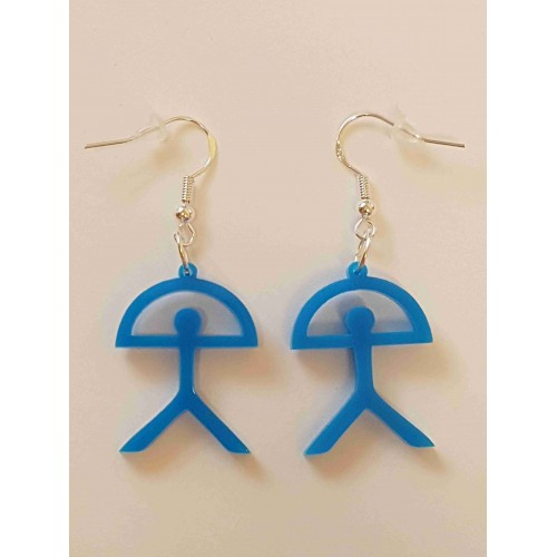 Indalo Man Earrings - Blue Acrylic