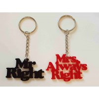 Mr & Mrs Right Keyrings - Acrylic
