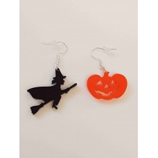 Halloween Witch and Pumpkin Earrings - Acrylic
