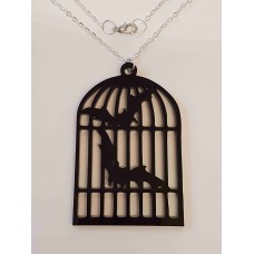 Bats in Bird Cage Necklace - Acrylic