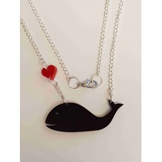 I love Whales Heart Necklace - Acrylic