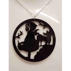 Red Riding Hood Circle Fairytale Necklace - Acrylic