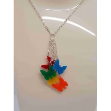 Dangly 5 Butterfly Necklace - Acrylic