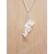 Dangly 5 Butterfly White Necklace - Acrylic