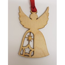 Birch Christmas Xmas Bauble Angel with stars - Option to personalise