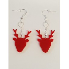 Christmas Reindeer Head Earrings - Acrylic
