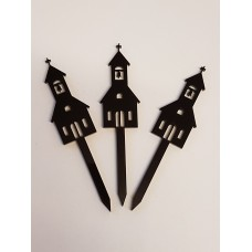 Church Cupcake Toppers x 3 - Acrylic