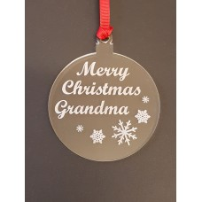 Acrylic Christmas Xmas Bauble Merry Christmas Grandma - Clear