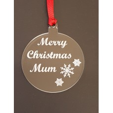 Acrylic Christmas Xmas Bauble Merry Christmas Mum - Clear
