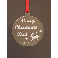 Acrylic Christmas Xmas Bauble Merry Christmas Dad - Clear