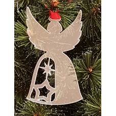 Acrylic Christmas Xmas Bauble Angel with stars