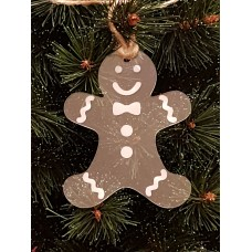 Acrylic Christmas Xmas Bauble Gingerbread Man - Clear