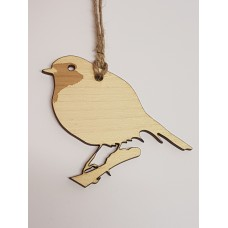 Birch Christmas Xmas Bauble Etched Robin - Laser cut wooden shape