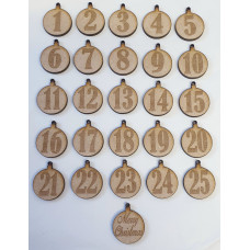MDF Advent number baubles 1-25 with Merry Christmas - Laser cut wooden shape